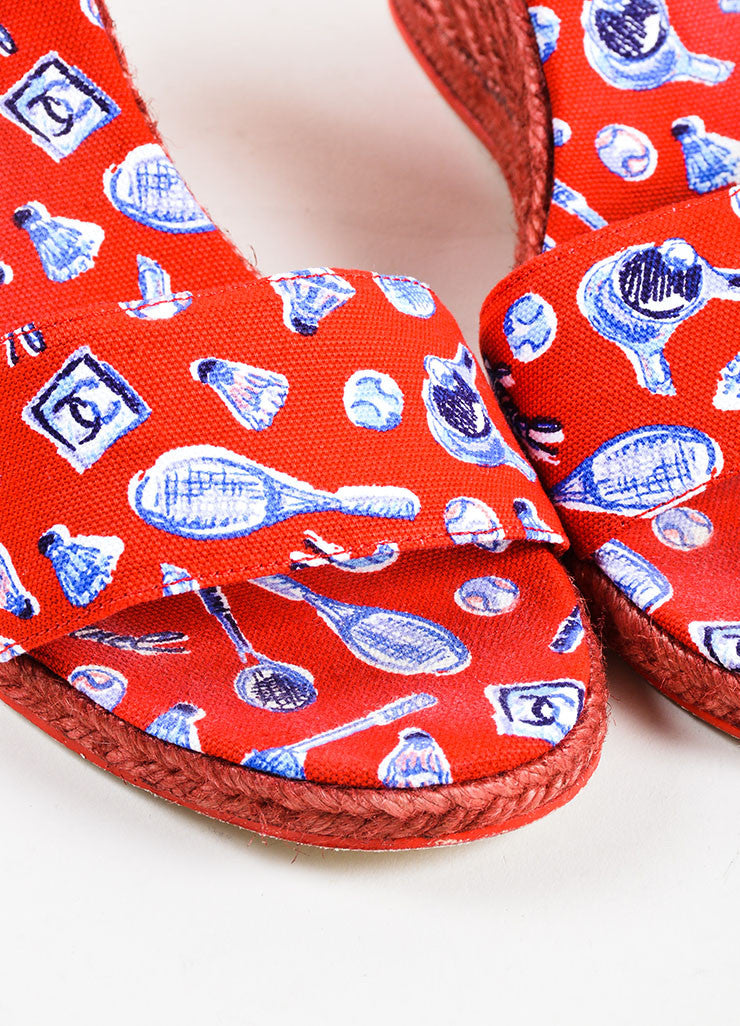 "Chanel  Red Blue Canvas ""CC"" Printed Espadrille Wrap Wedges Detail"