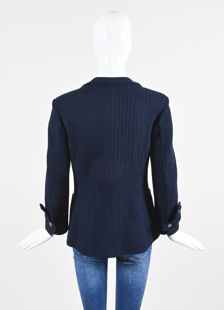 å´?ÌÜChanel Navy Blue Cotton Ribbed Button Tab Blazer Jacket Backview