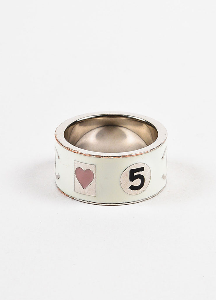 Chanel White and Silver Toned Metal Enamel 'CC' Logo Barrel Ring Backview