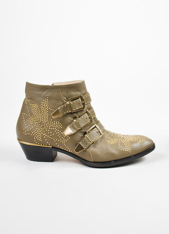 "Khaki Tan Leather Gold Toned Stud •ÈÀChloe ""Susanna"" Ankle Boots Sideview"