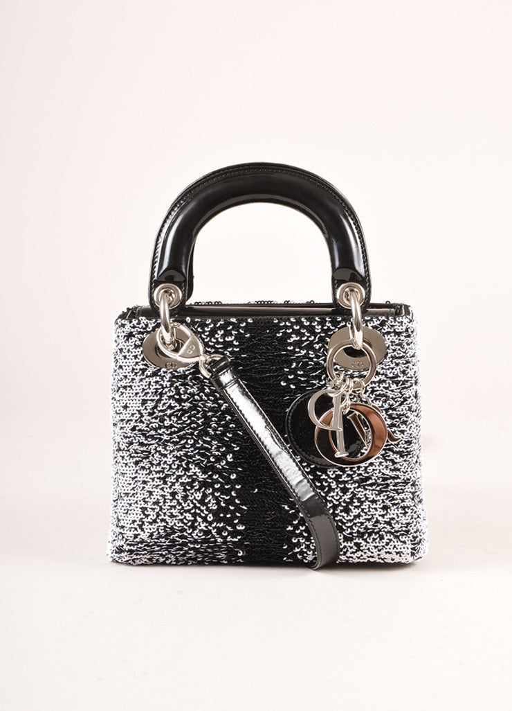"Christian Dior Black and White Sequin and Patent Leather Small ""Lady Dior"" Bag Frontview"