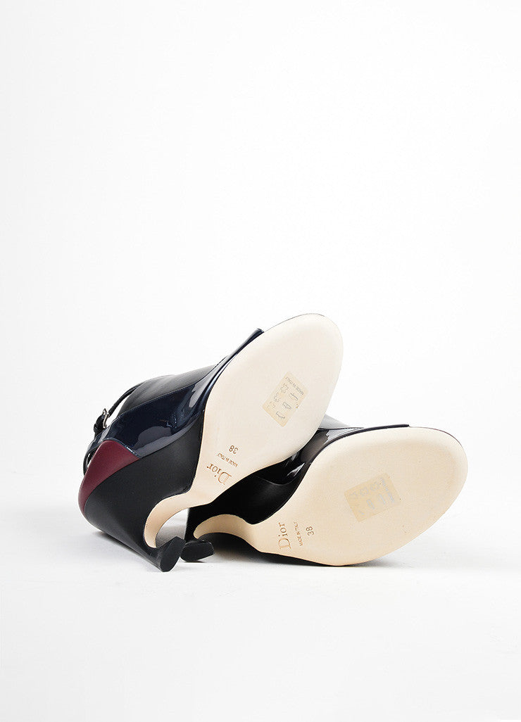 "Black, Maroon, and Navy Leather Christian Dior ""Audace"" Wedges Outsoles"
