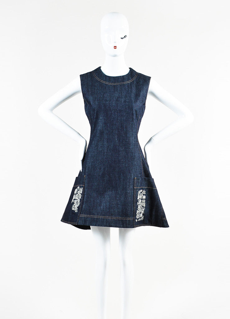 Blue Christian Dior Cotton Denim Fit Flare Jewel Pocket Dress Front