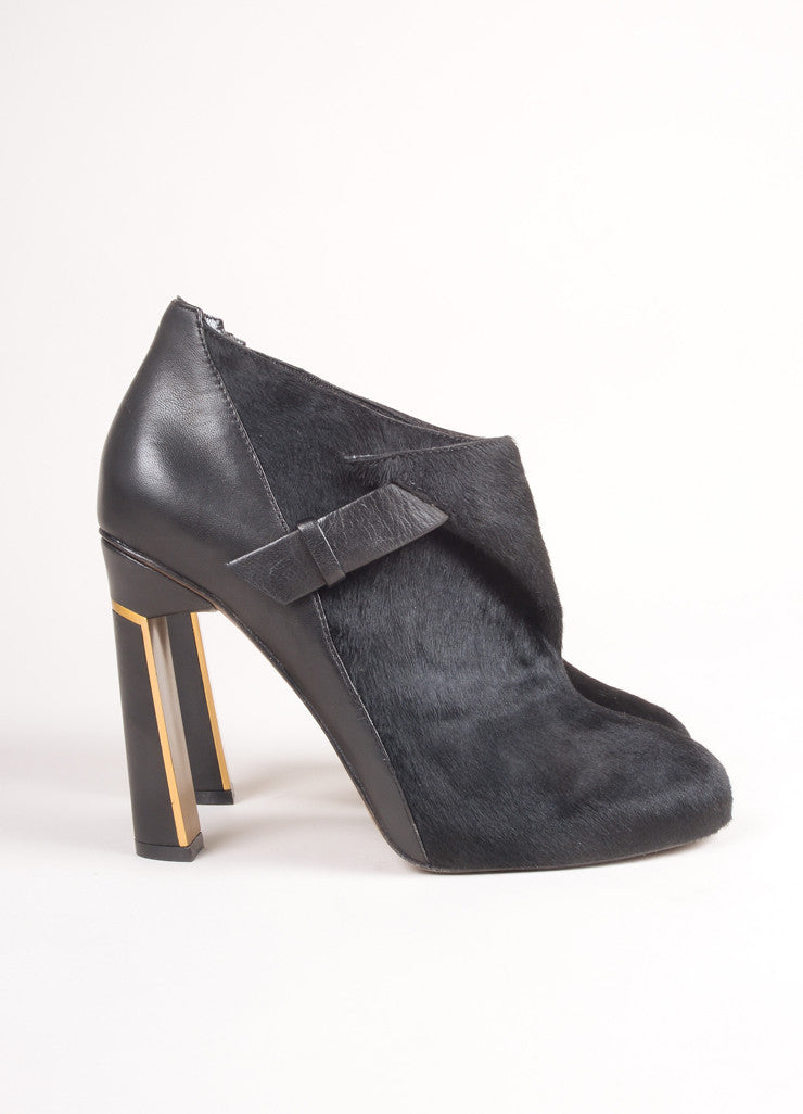 Derek Lam New In Box Black Pony Hair Leather Wrap High Heel Booties Sideview