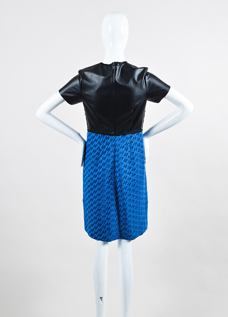 Black and Blue Derek Lam Vegan Leather Crochet Knit Color Block Short Sleeve Dress Backview