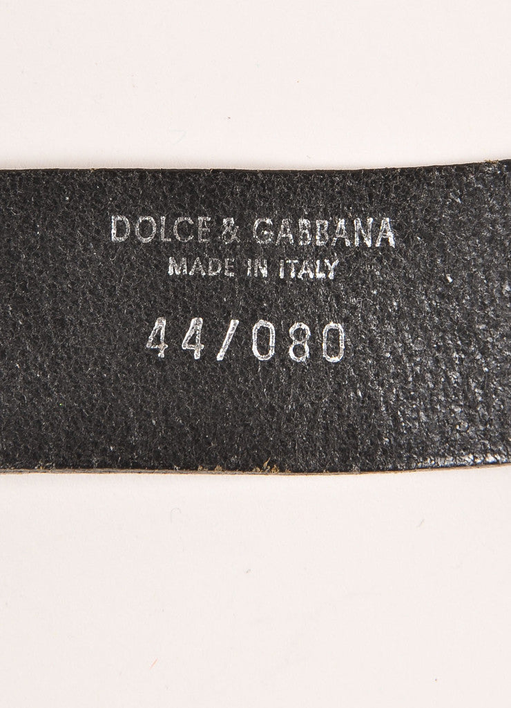 Dolce & Gabbana Black and Silver Toned Leather Chain Link Belt Brand