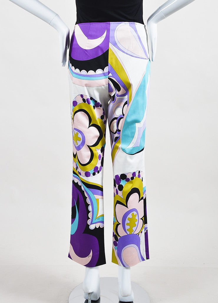 Emilio Pucci Firenze Multicolor Cotton Abstract Printed Pants Backview