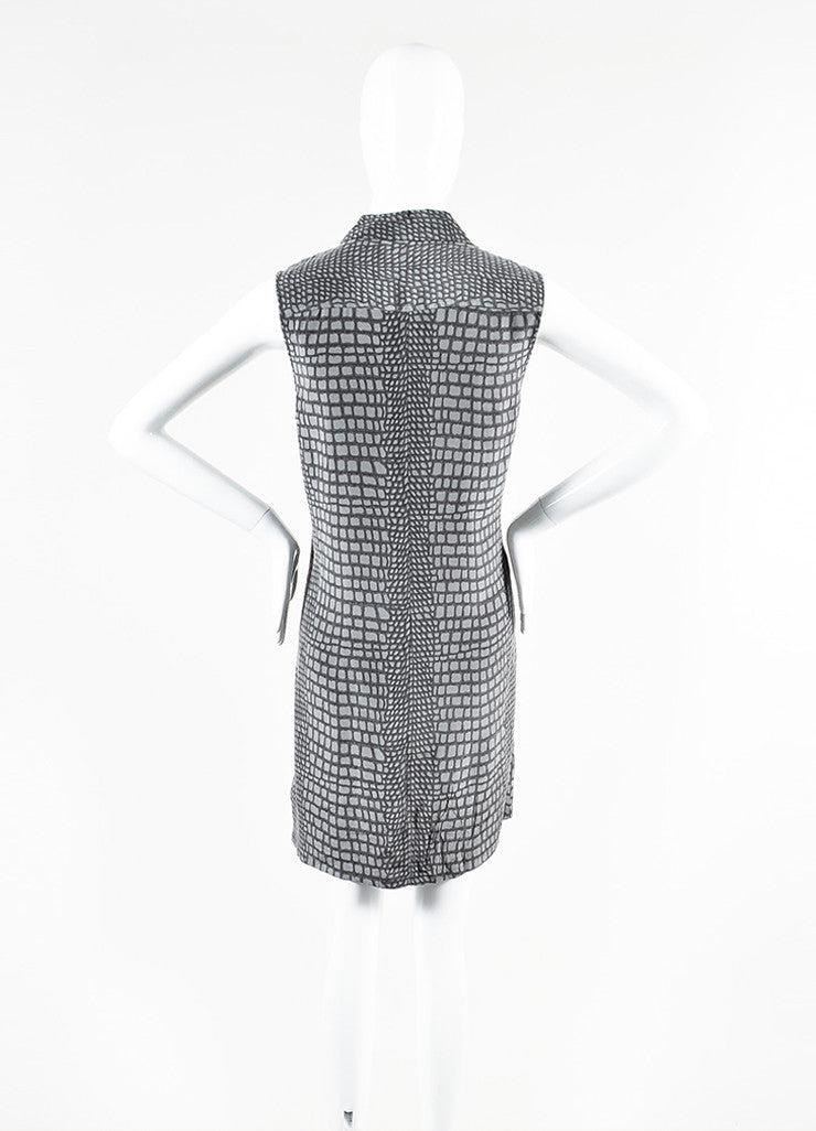 Equipment Femme Grey Silk Snakeskin Print Sleeveless Shirt Dress Backview
