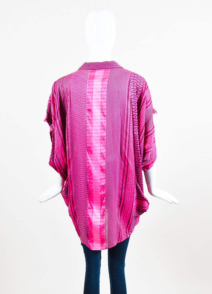 Etro Pink and Black Silk Blend Woven Shimmer Draped Short Sleeve Jacket Cover Up Backview