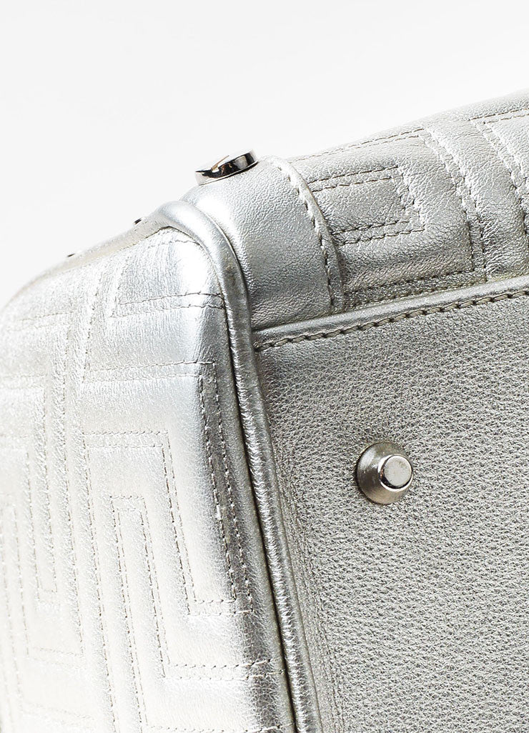 Gianni Versace Couture Silver Leather Quilted Braided Handle Screw Stud Handbag Detail