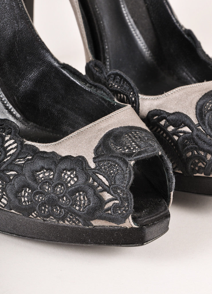 Giorgio Armani Black and Grey Satin and Lace Peep Toe Pumps Detail