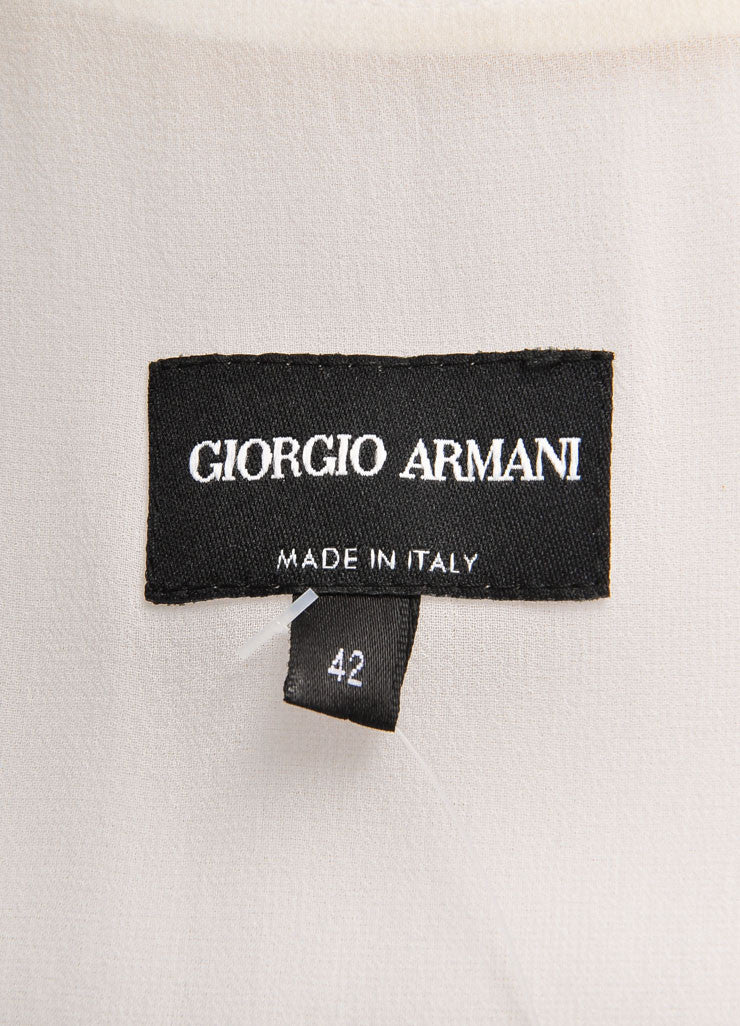 Giorigo Armani Cream Pleated Bow Wrap Sleeveless Shift Dress Brand