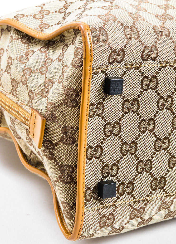 Gucci Beige Canvas Leather Monogram Shoulder Bag Detail 2