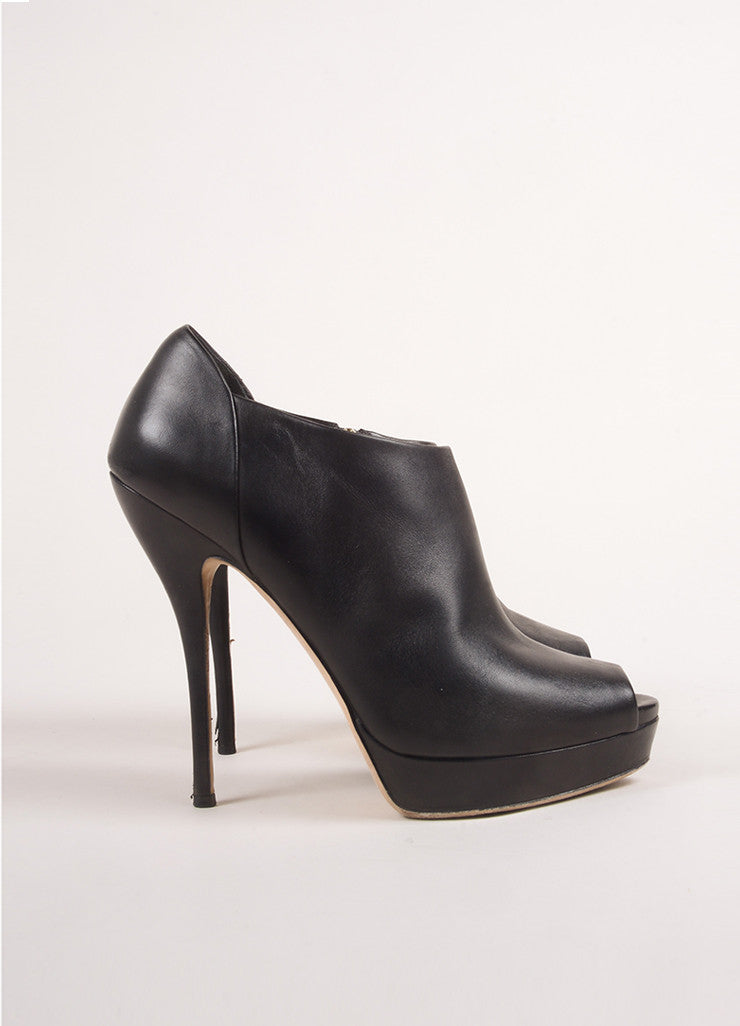 Gucci Black Leather Peep Toe Platform Heeled Ankle Booties Sideview