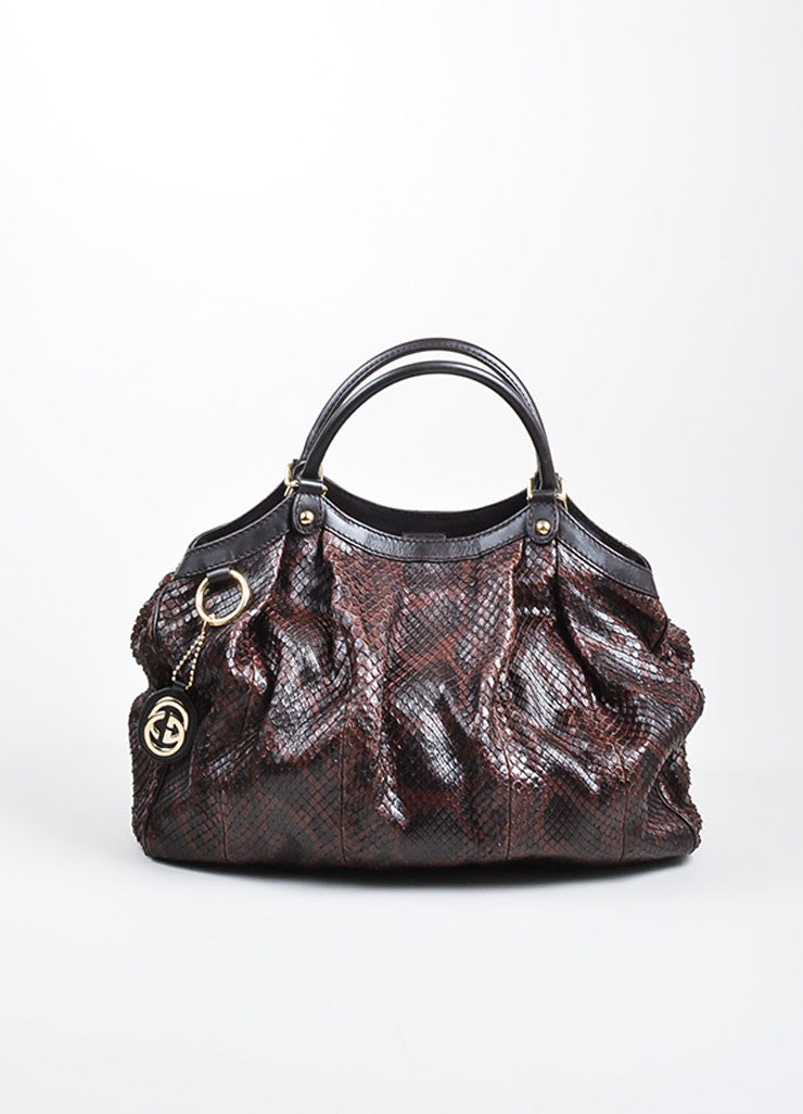 "Brown and Black Gucci Python Large ""Sukey"" Hobo Bag Frontview"