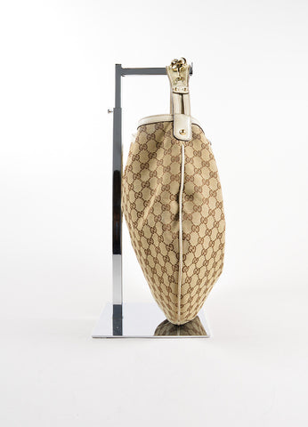 "Gucci Beige Monogram Canvas and Leather Horsebit ""Catena"" Hobo Bag Sideview"