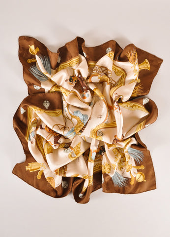 "Hermes Beige, Brown, and Multicolor Horse and Sleigh ""Plumes et Grelots"" Silk Scarf Frontview"