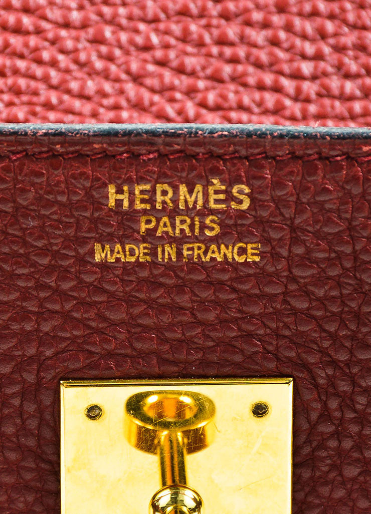 "Hermes Dark Red ""Rouge"" Clemence Leather Flap ""Birkin"" Bag Brand"
