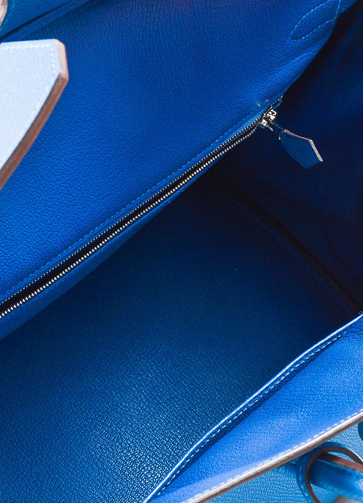 "Hermes Bleu de Galice Epsom Leather Palladium Hardware ""Birkin"" Bag Detail 8"