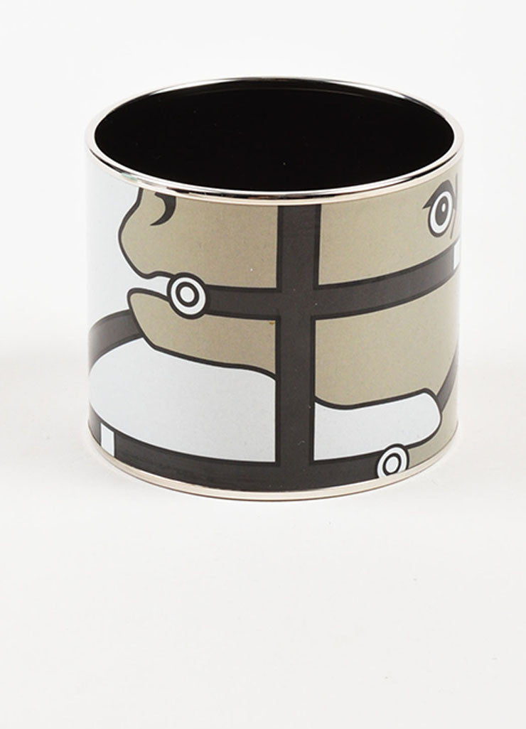 "Hermes Silver Toned and Black Enamel ""Quadrige"" Printed Mega Bracelet frontview"