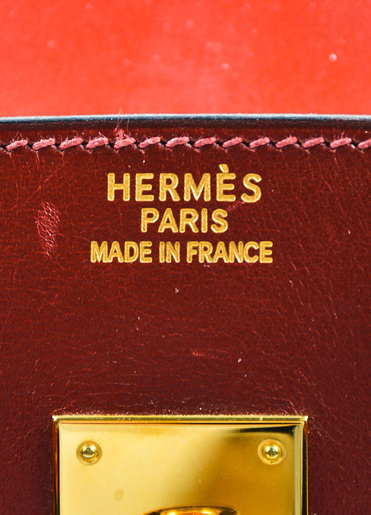 "Hermes Oxblood Red Box Calf Leather 35cm ""Birkin"" Handbag Brand"