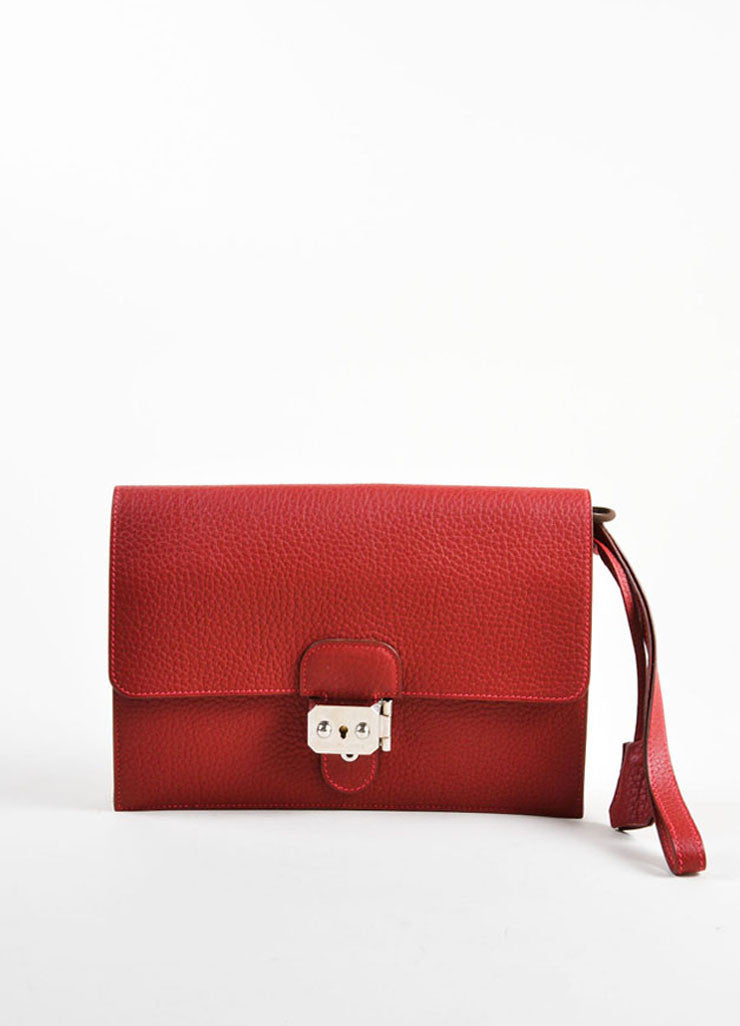 "Hermes Red ""Fjord"" Leather ""Jet"" Pochette Clutch Bag Frontview"