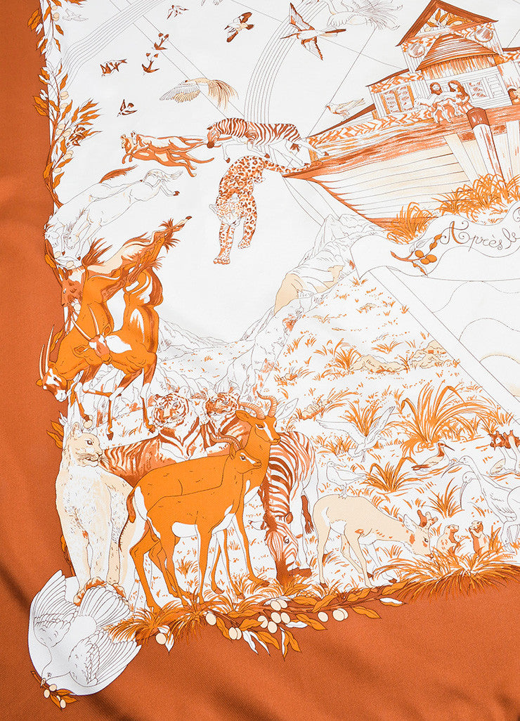 "Hermes Rust Orange and Cream ""Apres Le Deluge"" Animal Print Square Scarf Detail"