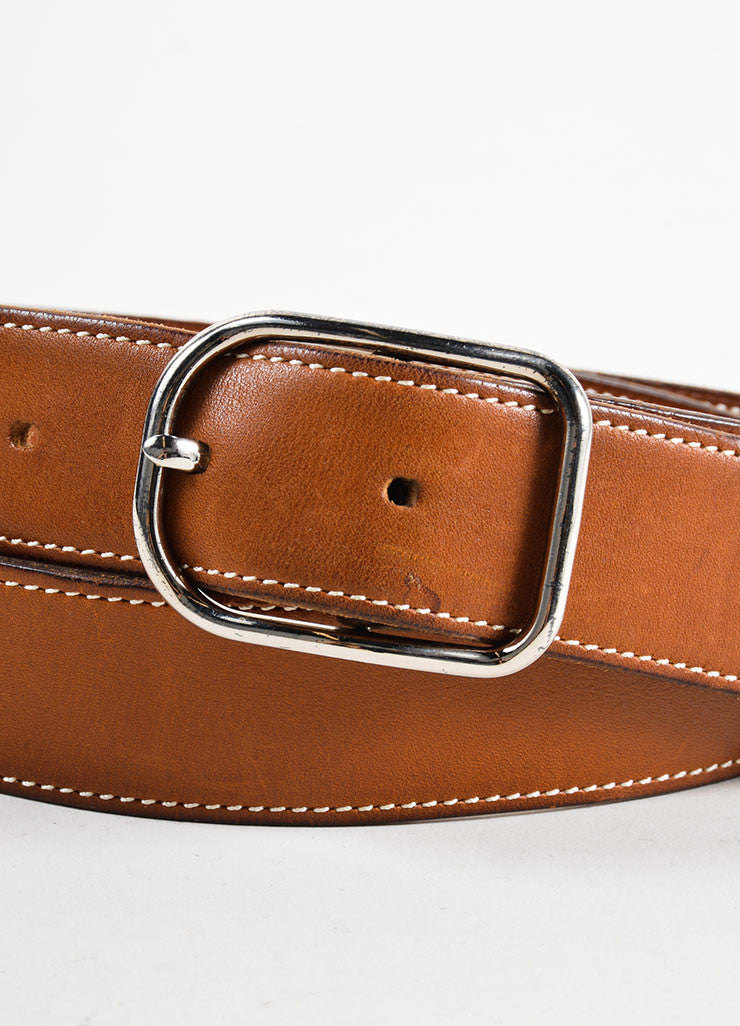 "Brown Leather and Silver Toned Hermes ""Rafale"" Belt Detail"