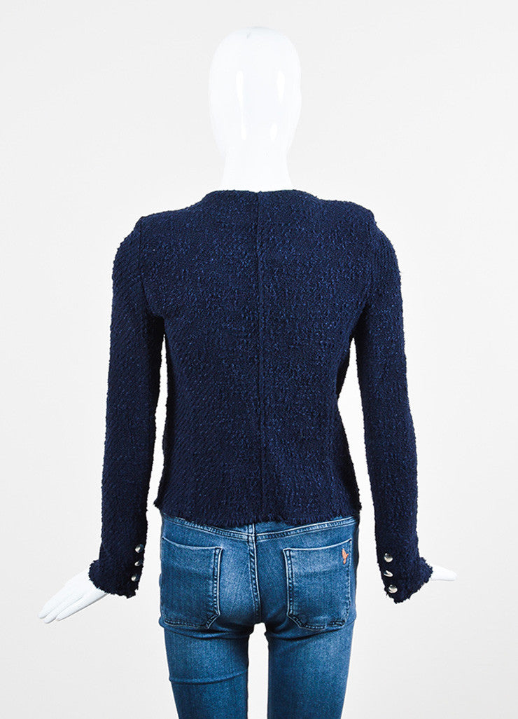 Navy Blue IRO Wool Boucle Silver Toned Zip Snap Jacket Backview