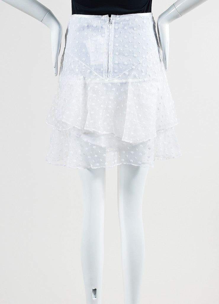 White Isabel Marant Silk Floral Embroidered Ruffle Layered Skirt Backview