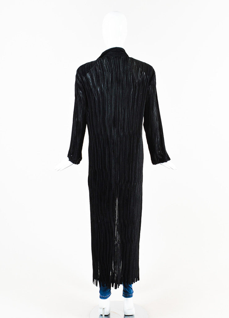 Issey Miyake Black Stretch Striped Velvet Trim Pleated Long Duster Jacket Backview