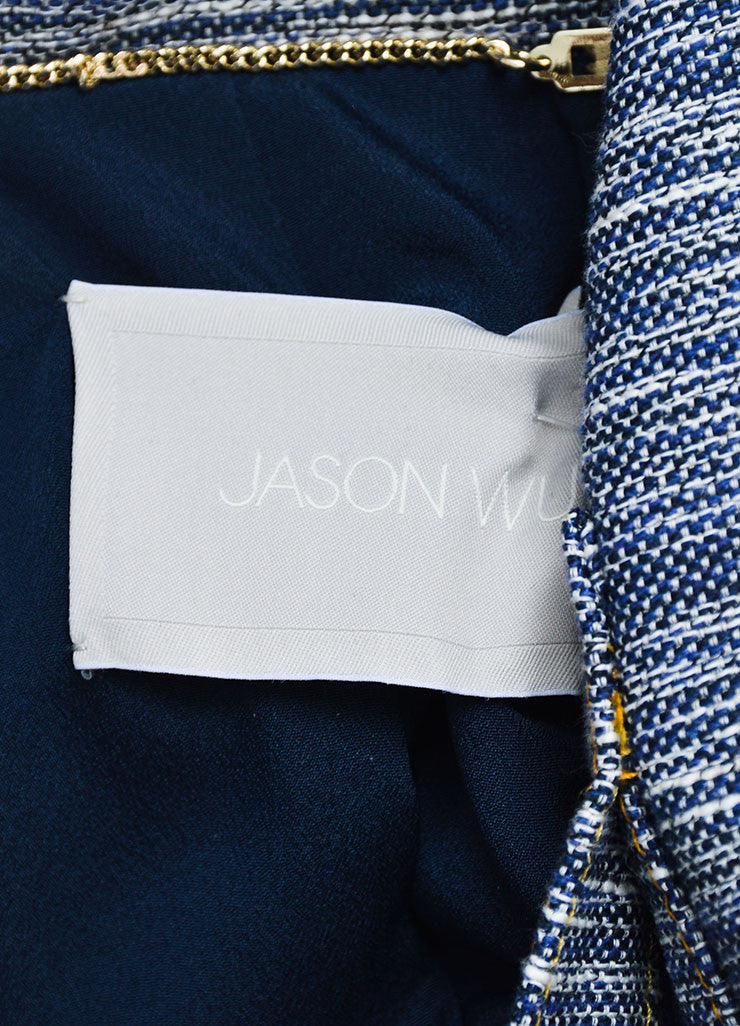 Navy and Yellow Jason Wu Denim and Tweed Cropped Jacket Brand