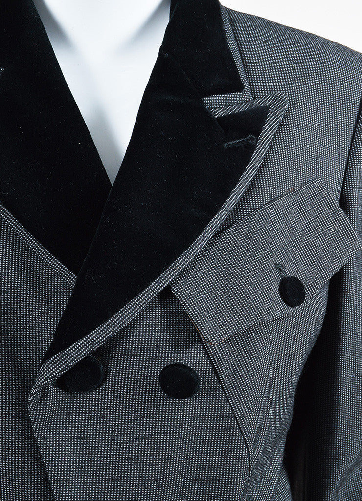 Black and Grey Jean Paul Gaultier Classique Velvet Collar Tail Coat Detail