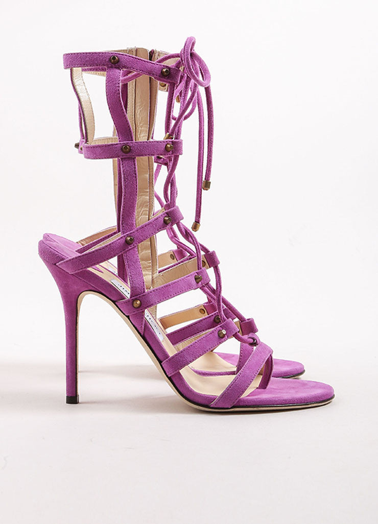 "Jimmy Choo Purple Suede Leather Lace Up Gladiator ""Manous"" Sandals Sideview"