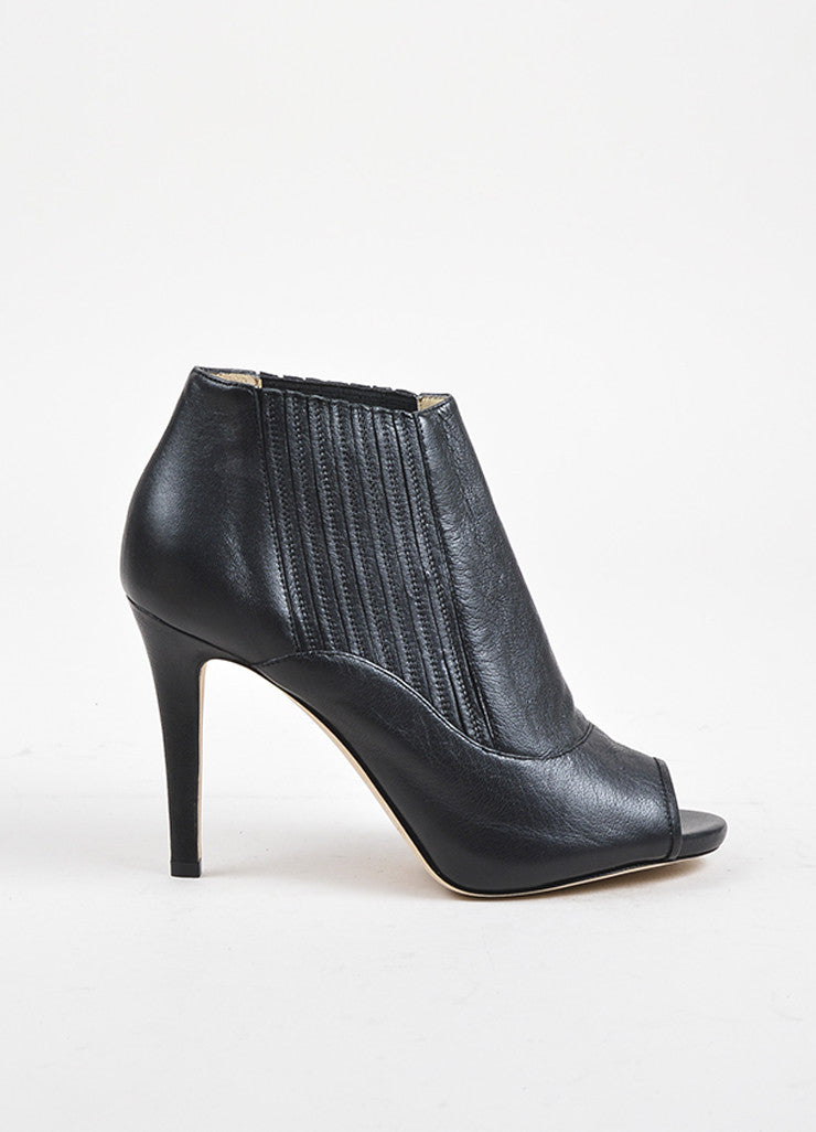 "Jimmy Choo Black Leather Peep Toe ""Brenna"" Stiletto Booties Sideview"