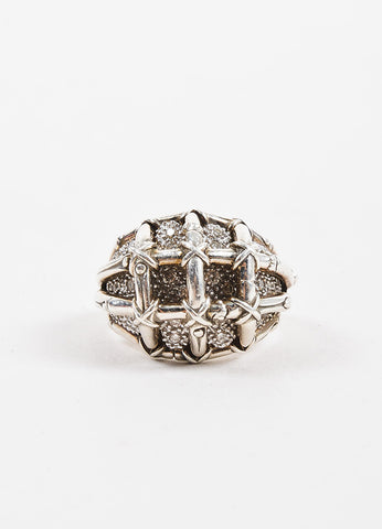 John Hardy Sterling Silver Diamond Embellished Bamboo Cocktail Ring Frontview