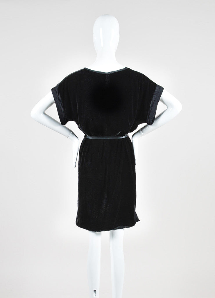 Black Lanvin Velvet Belted V-Neck Short Sleeve Dress Backview