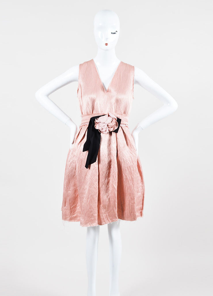 Blush Pink Lanvin Linen Textured Flower Bow Pleated Dress Frontview