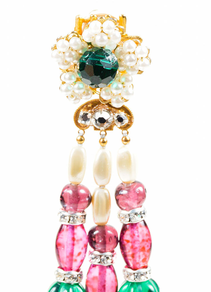 Multicolor Bead Lawrence VRBA Tassel Clip On Earrings Detail