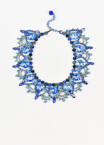 Silver Toned and Blue Lawrence Vrba Rhinestone Crystal Bib Statement Necklace