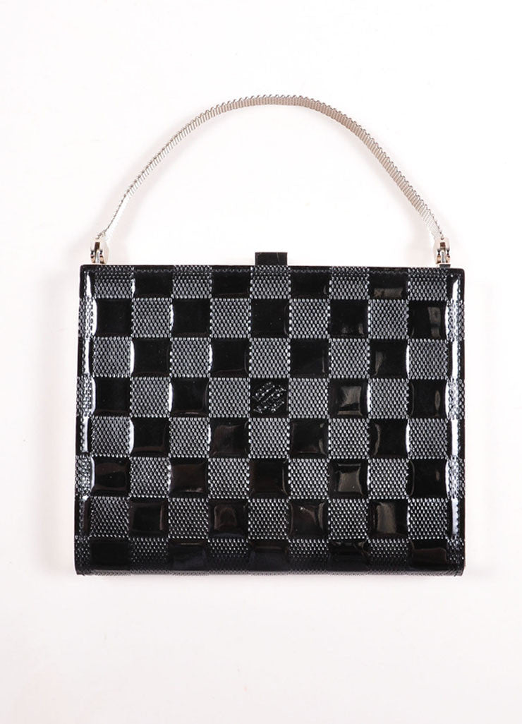 "Louis Vuitton Black Patent Leather ""Damier Vernis Ange PM"" Chain Strap Box Bag Frontview"