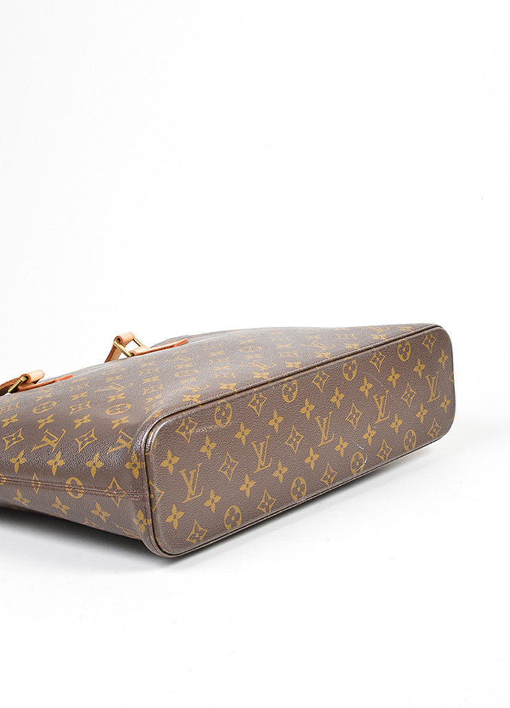 "Brown Louis Vuitton ""Luco"" Monogram ""LV"" Canvas Tote Bag Bottom View"
