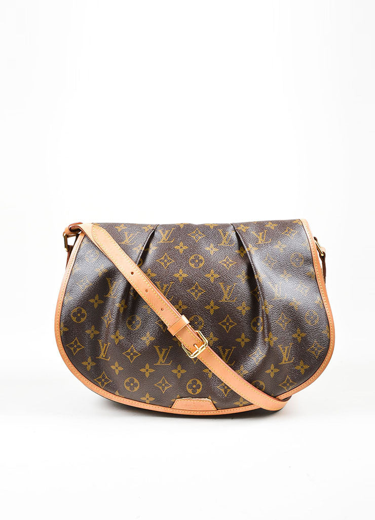 "Brown and Tan Louis Vuitton Coated Canvas Monogram ""Menilmontant MM"" Shoulder Bag Frontview"
