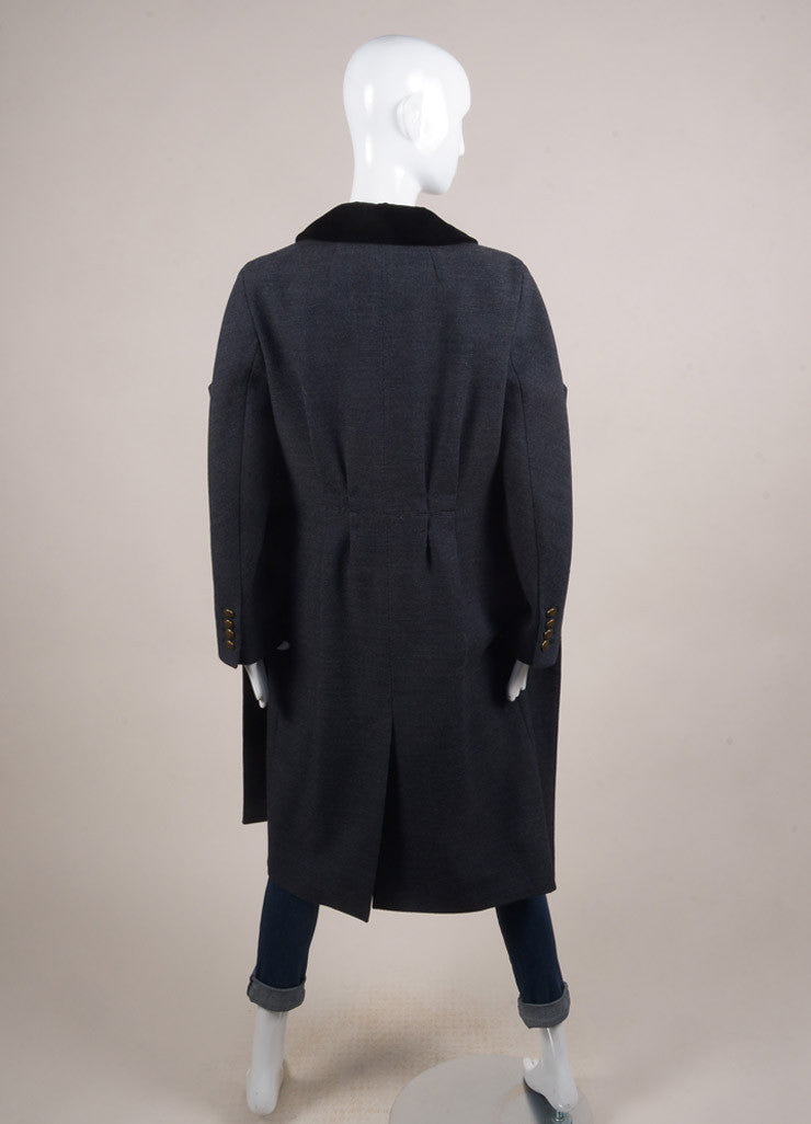 Louis Vuitton Navy Blue and Grey Wool Velvet Trim Double Breasted Coat Backview