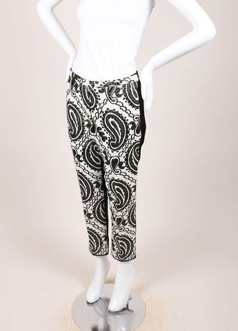 Marc Jacobs Black and Cream Wool and Satin Contrast Brocade Paisley Trouser Pants Sideview