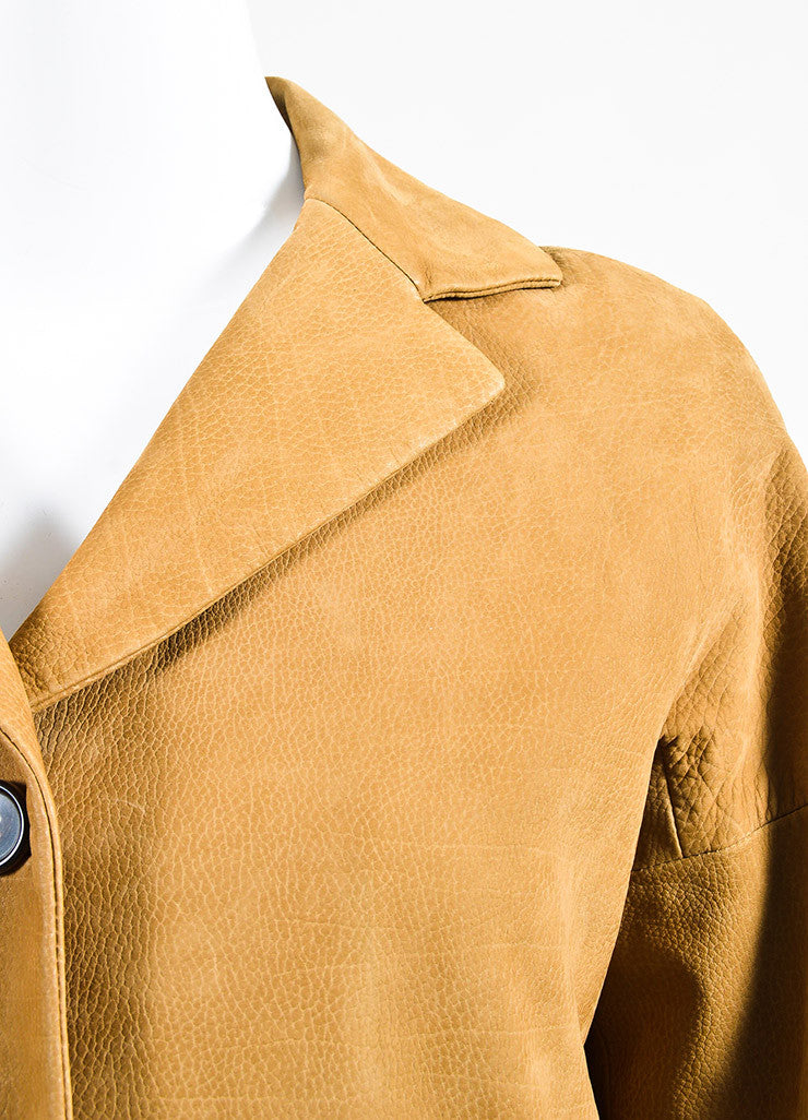 Marni Camel Tan Grained Leather Button Down Long Sleeve Coat Jacket Detail