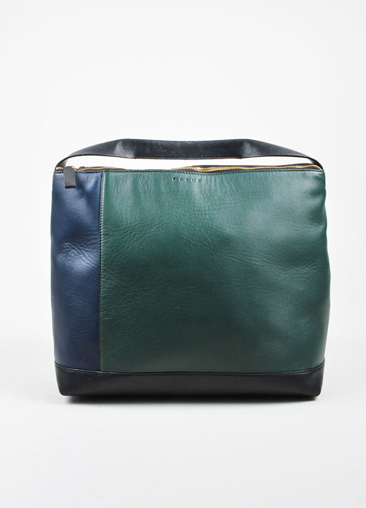 "Navy, Green, and Black Marni Lamb Leather Colorblock Hobo ""Pod"" Bag Frontview"
