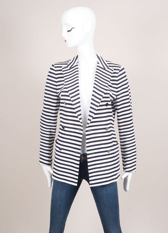 Max Mara White and Navy Knit Stripe Double Breasted Long Sleeve Blazer Frontview