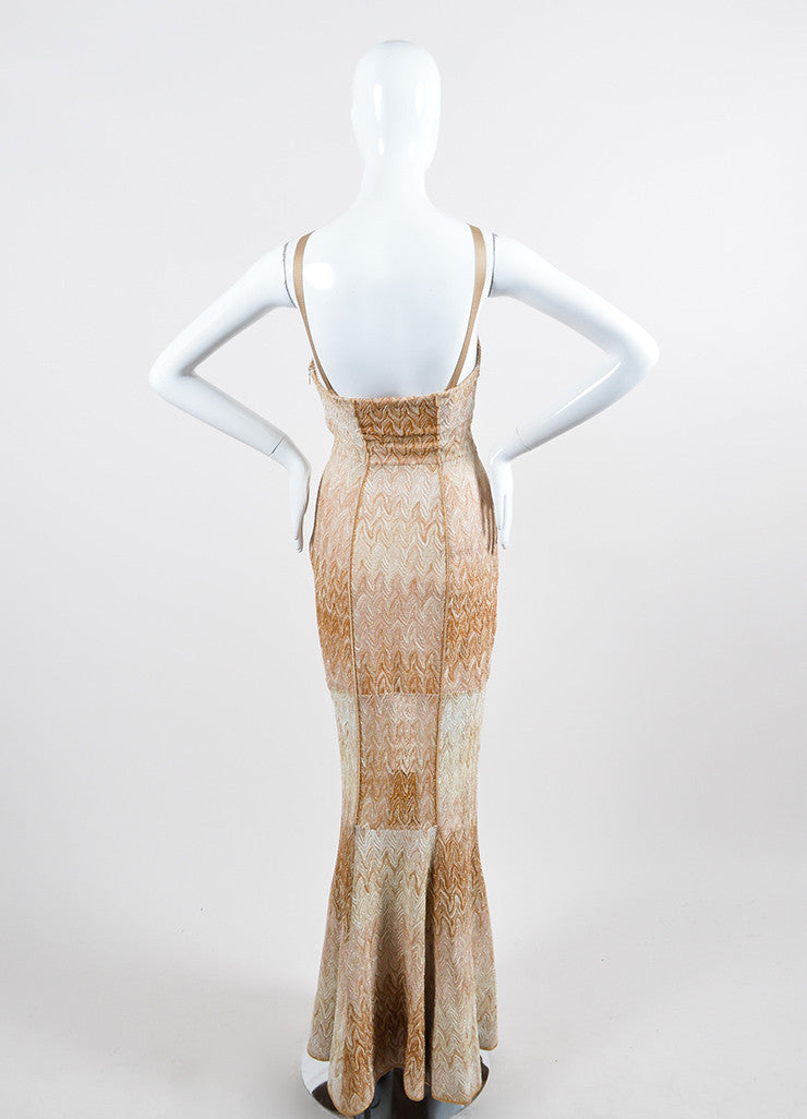 Tan and Gold Metallic Missoni Woven Knit Strapless Gown Backview