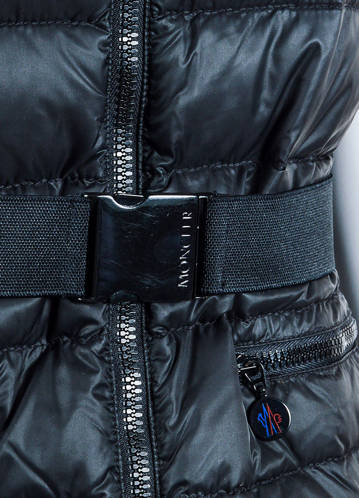 Black Moncler Down Filled Quilted Belted Puffer Vest Detail